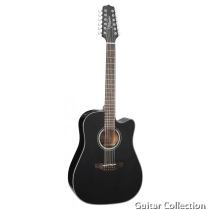 TAKAMINE GD30CE-12 BLK DREADNOUGHT CUTAWAY SOLID SPRUCE TOP 12 STRING SEMI ACOUSTIC GUITAR (FREE PICKS,CAPO, STRAP&BAG)