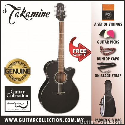 Takamine GF30CE Black | FXC Cutaway Body | Solid Spruce Top | Semi Acoustic Guitar with TP-4TD (Free Strings, Picks, Capo, Strap & Bag)