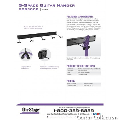 On-Stage GS8500B 5-Space Guitar Hanger