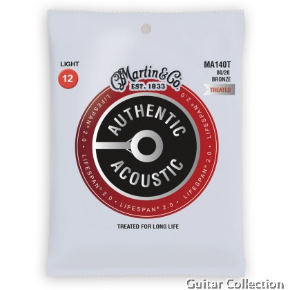 Martin MA140T Lifespan Treated 80/20 Bronze Authentic Acoustic Guitar Strings Light 12-54