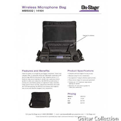 On Stage Stands MB5002 Carry Bag for Wireless Microphones