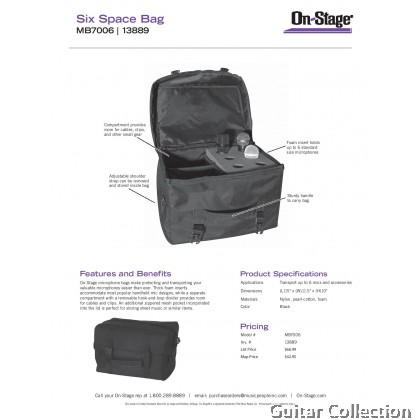 """On Stage Stands MB7006 Microphone Bag for Microphones and Accessories 