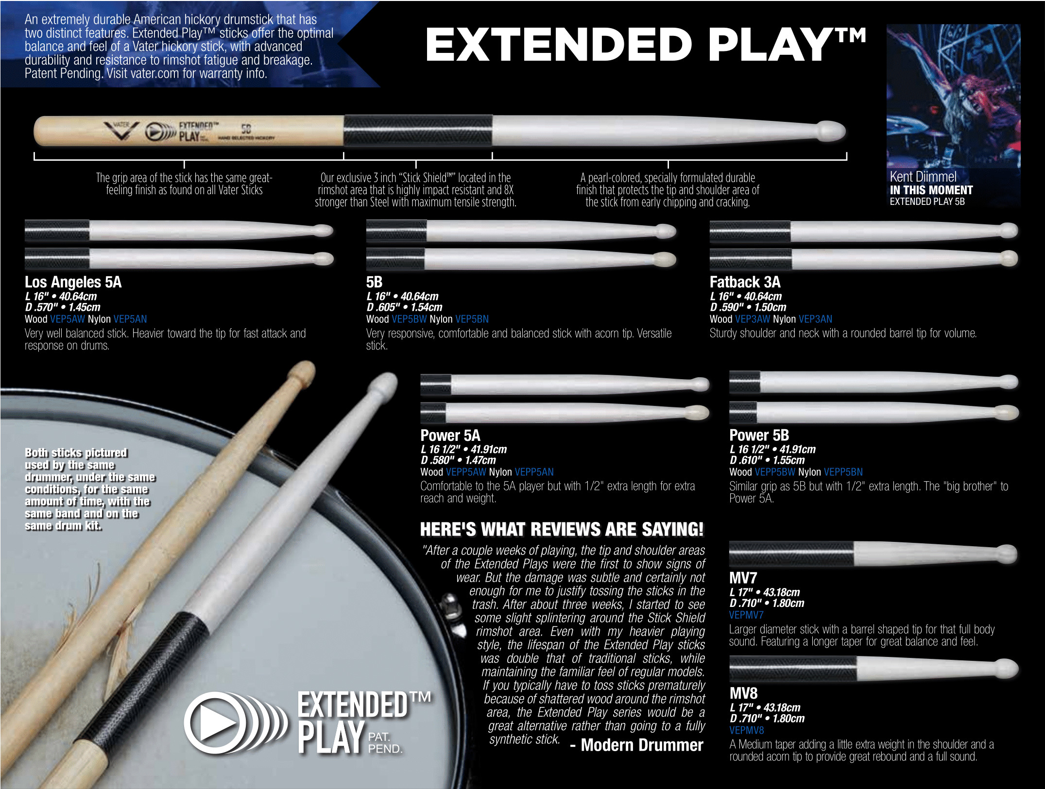 NEW Vater VEP5BW Extended Play 5B Wood Tip Drumsticks